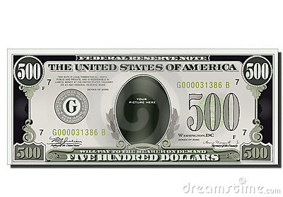 Blank Funny 500 Dollars Usa Banknote