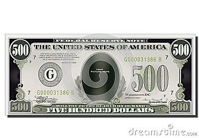 Blank Funny 500 Dollars Usa Banknote
