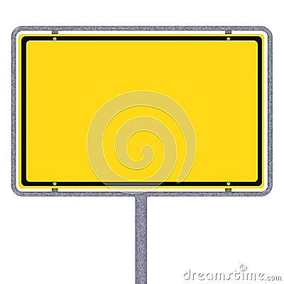 Blank German city limits sign