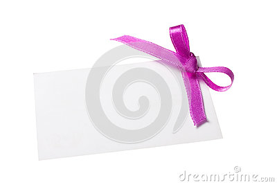 Blank gift tag tied with a bow of purple satin ribbon.