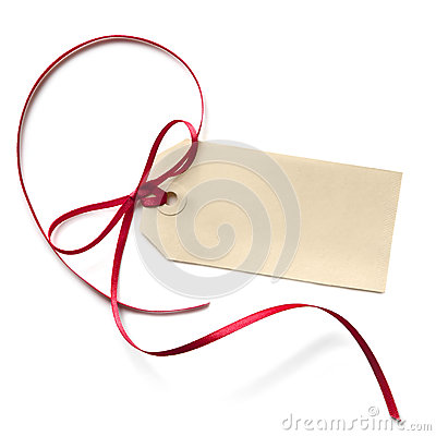 Free Blank Gift Tag With Red Ribbon Royalty Free Stock Image - 26215026