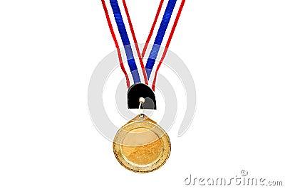Blank gold medal on white