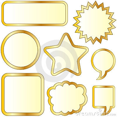 Blank gold textured bubble stickers