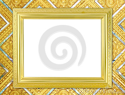 Blank Golden Frame On Thai Style Buddha Wall Royalty-Free Stock ...