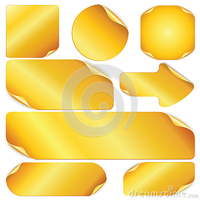 Free Blank Golden Stickers, Notes, Labels. Stock Images - 29422454