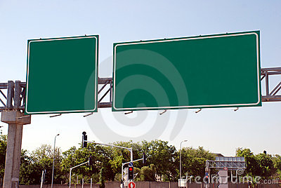 Blank green high way Sign