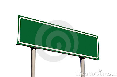 Blank Green Road Sign Isolated Guide Post