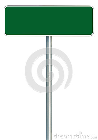 Free Blank Green Road Sign Isolated, Large White Frame Framed Roadside Signboard Copy Space, Detailed Closeup Stock Photo - 77886990