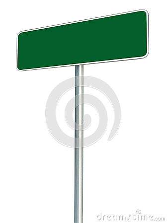 Blank Green Road Sign Isolated, Large White Frame Framed Roadside Signboard