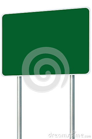 Free Blank Green Signboard Road Name Sign Isolated, Large Perspective Copy Space, White Frame Roadside Signpost Pole Post Name Signage Royalty Free Stock Photography - 61200877