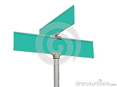 Blank green street signs