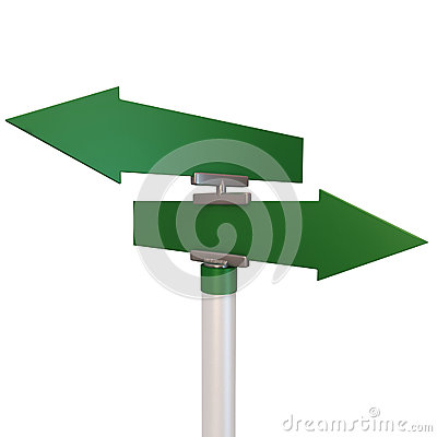 Blank green two road signs