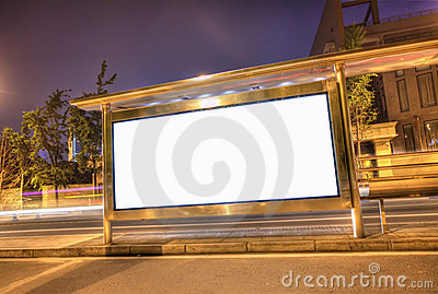 A blank hdr billboard on a bus stop