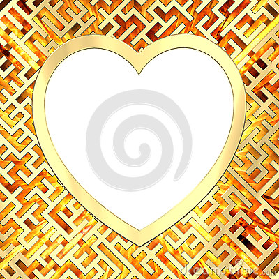 Blank heart shaped frame on maze background with flame