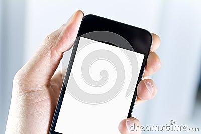 Blank holdingsmartphone