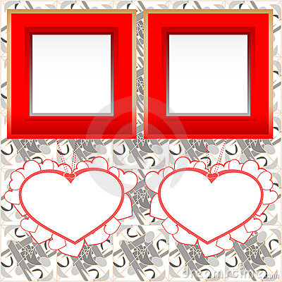 Blank instant photo frames with heart on wood