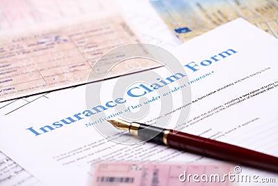 Blank insurance claim form
