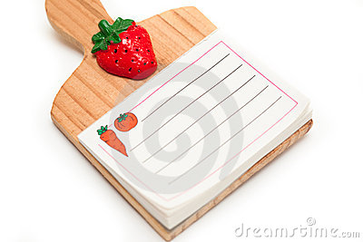 Blank isolated kitchen notepad with clipping path