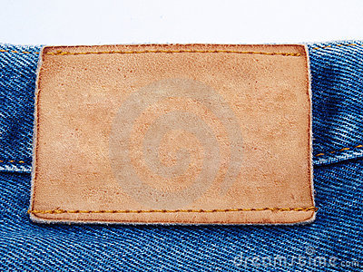 Blank jeans leather label on jean fabric