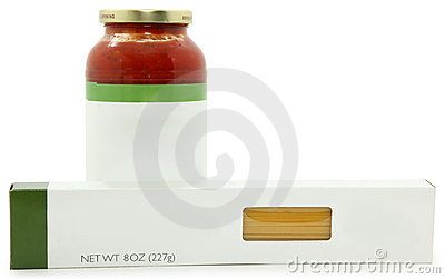 Blank Label spaghetti Sauce and Noodles