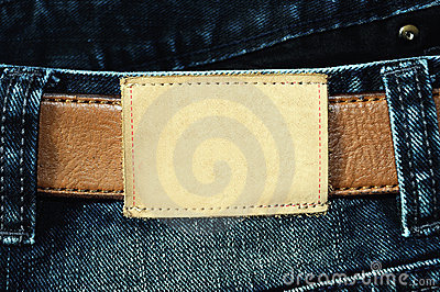 Blank leather label of jean