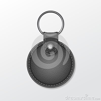 Free Blank Leather Round Keychain With Ring For Key Stock Images - 44714554