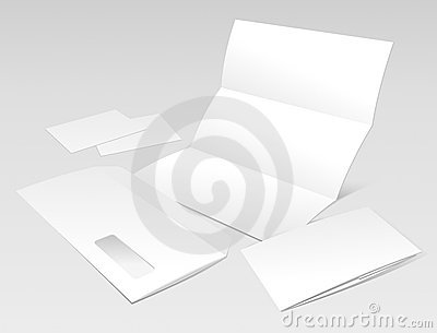 Blank Letter, Envelope, Business cards and booklet