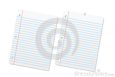 Blank lined paper sheets or notepad pages.