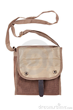Blank linen bag with shoulder strap lies