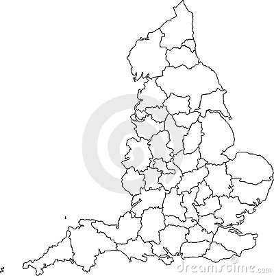 Blank map of England - counties