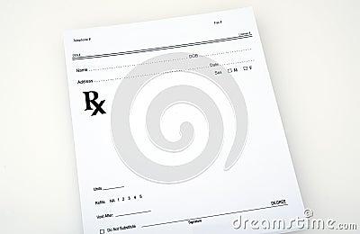 Blank medical prescription