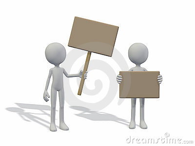 Blank men holding empty board