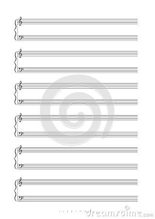 Blank A4 music notes with treble and bass clef. Vector illustartion.