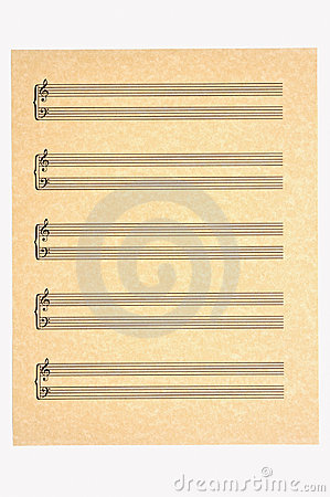Blank Music Sheet, Treble and Bass Clefs