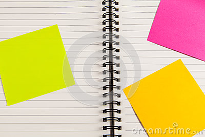 Blank note book with post it