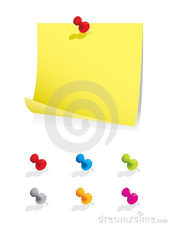 Free Blank Note Paper With Colourful Pins Royalty Free Stock Image - 7061216