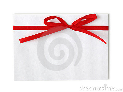 Blank note and red ribbon