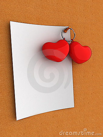 Blank note valentine hearts