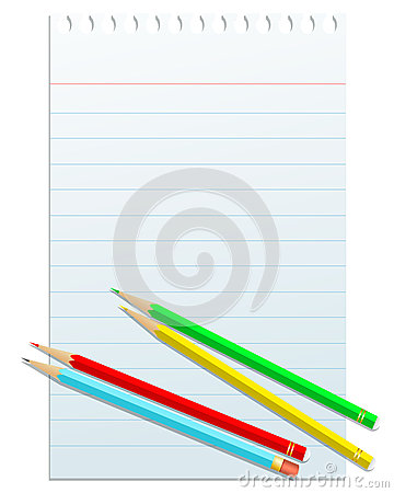Blank notepad papper with colorful pencils