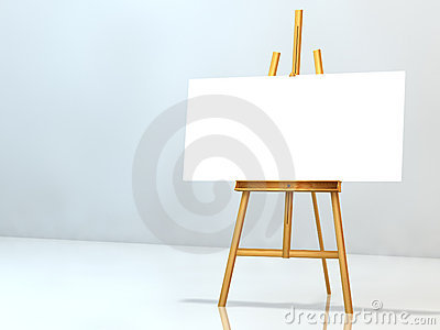 Blank notice on easel
