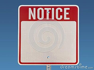 Blank Notice Sign