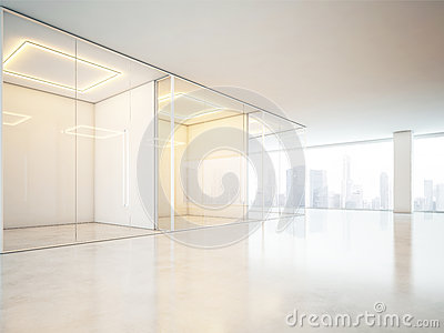 Blank office interior with big windows