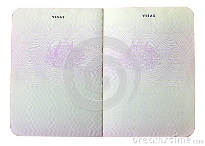 Blank old Australian passport pages