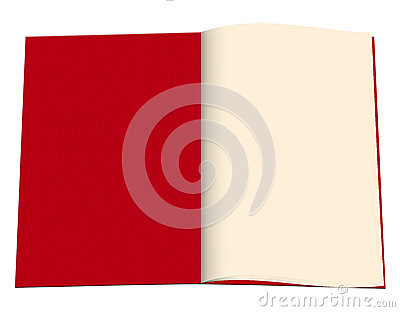 Blank open book - red diary etc, white background