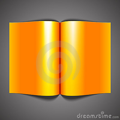 Blank open orange book