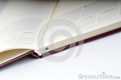 Blank, opened agenda