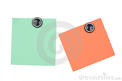 blank orange and green note with magnet
