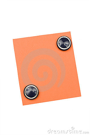 blank orange note with magnet