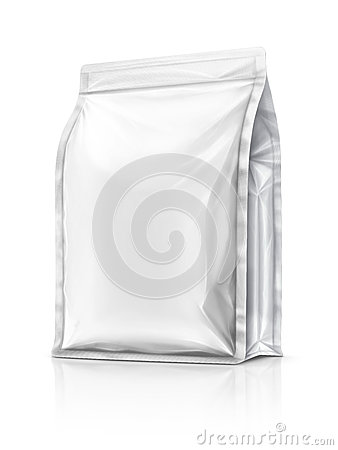 Free Blank Packaging Aluminium Foil Pouch Isolated On White Backgroun Royalty Free Stock Images - 63219099