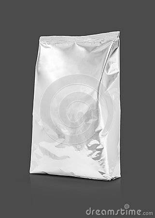 Free Blank Packaging Aluminum Foil Pouch Isolated On Gray Background Royalty Free Stock Images - 74891699